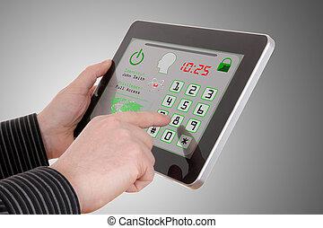 urgent, tablette, code sécurité, homme