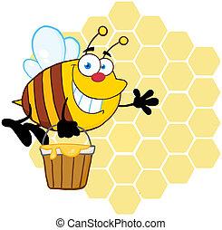 urticaire, devant, sourire, abeille