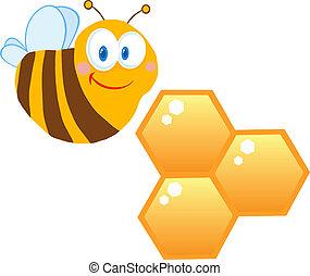 urticaire, mignon, abeille