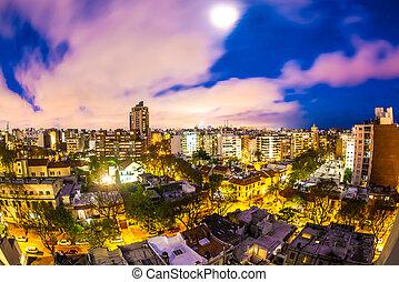 uruguay, sur, panoramique, nuit, montevideo, vue