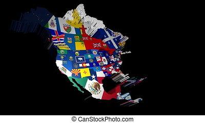 usa, état, drapeaux, york, nouveau, 3d