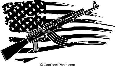 usa, 47, ak, fusil, drapeau, illustration