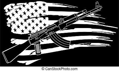 usa, 47, illustration, ak, drapeau, fusil