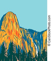 usa, art, sentinelle, dans, yosemite, national, chutes, parc, wpa, rocher, californie, géant, residing, affiche, monolithe