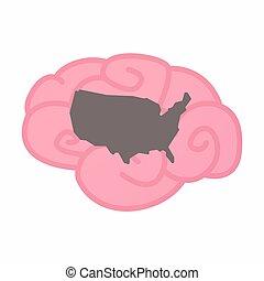 usa, carte, cerveau, isolé