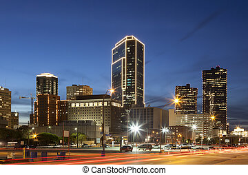 usa, en ville, night., texas, valeur fort