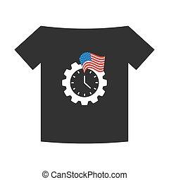 usa, gear-shaped, horloge, drapeau, t-shirt