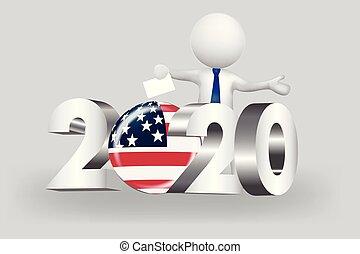 usa, gens, -, petit, 2020, vote, logo, 3d