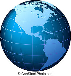 usa, globe, -, vecteur, affichage mondial