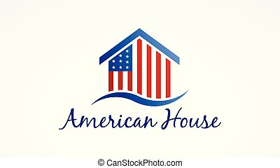 usa, maison, symbole, américain, vecteur, flag., logo