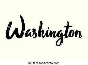 usa, manuscrit, washington, calligraphie, nom, capital.