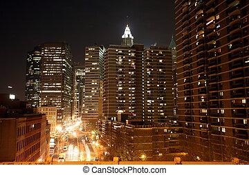 usa, nuit, nouveau, manhattan, york, vue