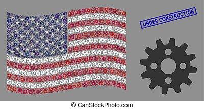 usa, roue dentée, cachet, drapeau, stylization, gratté, construction