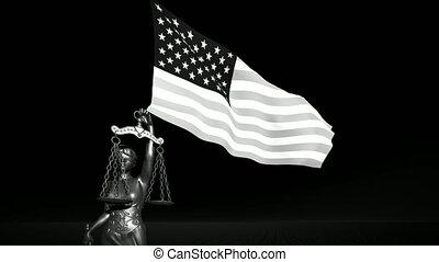 usa, symbole, composition, justice, theism, fond, échelle, drapeau