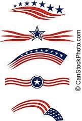 usa, vecteur, étoile, éléments, logo, conception, raies, icônes, drapeau