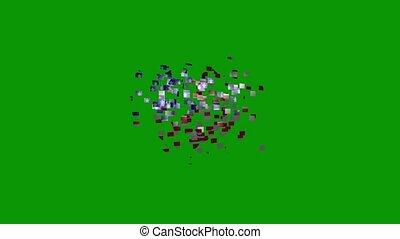 usa, vert, arrière-plan., forme, coeur, drapeau, animé