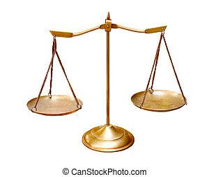 usage, échelle, or, isolé, mu, fond, laiton, équilibre, blanc