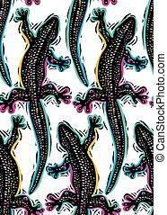 usage, continu, lézards, reptile, sommet, papier peint, seamless, modèle, arrière-plan., vecteur, forêt, pluie, graphique, faune, vue, design.