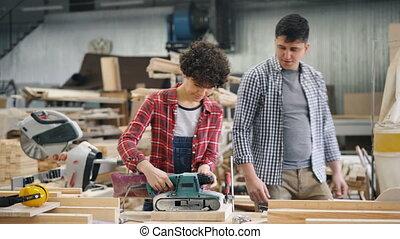 usage, ouvrier, usine, machine, enseignement, polissage, nouveau, type, apprenti, beau
