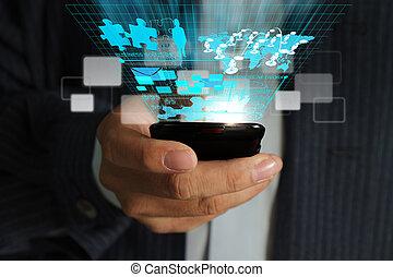 usage, réseau, téléphone affaires, mobile, virtuel, main, diagramme, ruisseler, processus, homme
