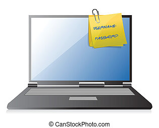 username, ordinateur portable, mot passe