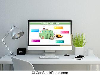 usine, écran, espace de travail, moderne, propre, intelligent, site web