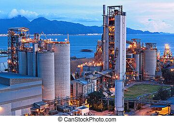 usine, ciment, nuit