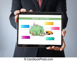 usine, homme affaires, tablette, intelligent