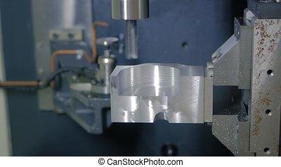 usine, moudre, découpage, métal, machine, automatisé, tourner, workpiece, cnc