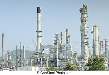 usine, paysage, raffinerie, huile