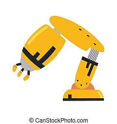 usine, plat, industriel, icônes, main., isolé, illustration, robot, arrière-plan., bras, symbols., vecteur, robotique, blanc, technologie, set.