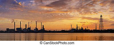 usine, raffinerie, huile