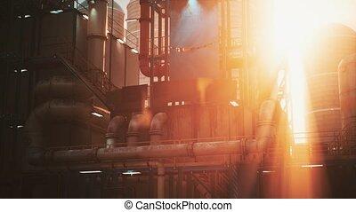 usine, raffinerie, industrie, coucher soleil, huile