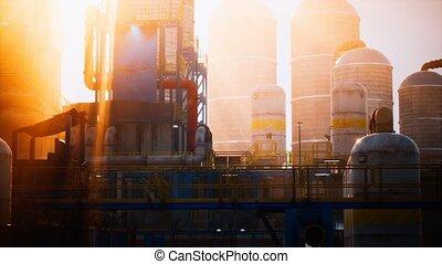 usine, raffinerie, stockage, huile, réservoirs