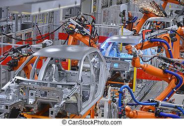 usine, robots, soudure
