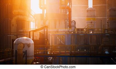 usine, tanks réservoirs, raffinerie pétrole