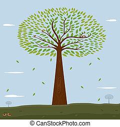 usines, arbre vert, leafs.