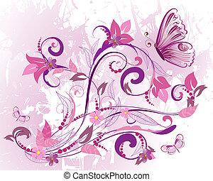 usines, fleurs, conception, romantique