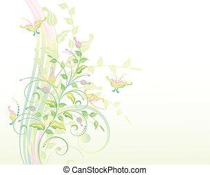 usines, floral, b, fond