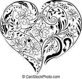 usines, forme coeur, noir, fleurs blanches