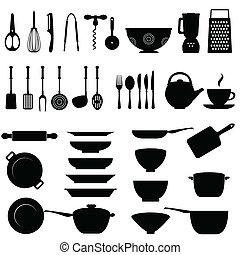 ustensile, ensemble, cuisine, icône