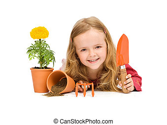 ustensiles, peu, jardinage, girl, heureux