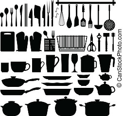 ustensiles, vecteur, silhouette, cuisine