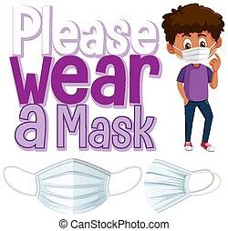 usure, s'il vous plaît, masque, bannière