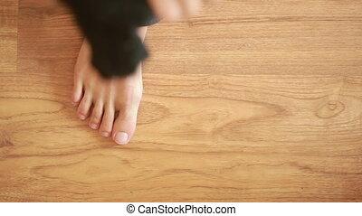 usures, socks., noir, habillé, close-up., homme