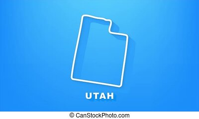 utah, animation., carte, graphics., contour, état, mouvement