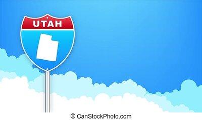 utah, louisiana., signe., carte, accueil, route, graphics., état, mouvement