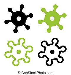 utile, icône, minimal, plat, coronavirus