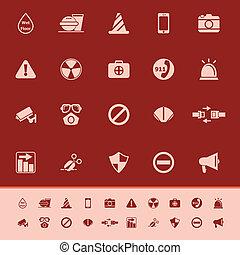utile, icônes, couleur, général, fond, rouges
