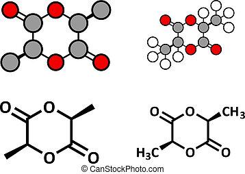 utilisé, (polylactide, precursor, l-lactide, molecule., polymeric, polylactate), pla, polylactic, acide, plastic., synthèse